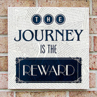 Vintage Book Page Wall Canvas  The Journey is the Reward by Stoic
