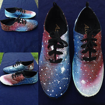 Hand painted galaxy shoes size 7