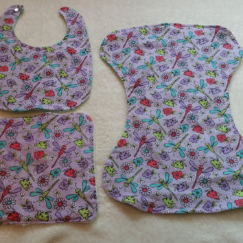Baby Burp Cloth, Bib, Wash Cloth Gift Set 3 pieces