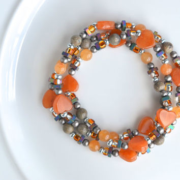 Orange beaded stretch bracelet, beaded wrap bracelet, gemstone beaded bracelet, wrap stretch bracelet, orange stretch bracelet