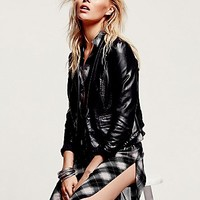 Free People Womens Vegan Blazer - Black,