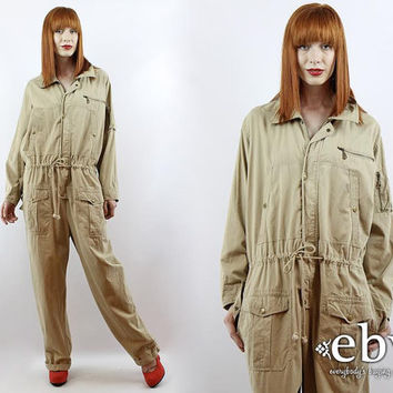 Vintage 90s Tapered Leg Khaki Oversized Mechanic Jumpsuit XL 1X 2X Plus Size Jumpsuit Vintage Jumpsuit Oversized Jumpsuit Plus Size Vintage