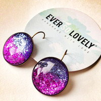 hot pink and purple moon earrings - metallic starry night dangle drop earrings