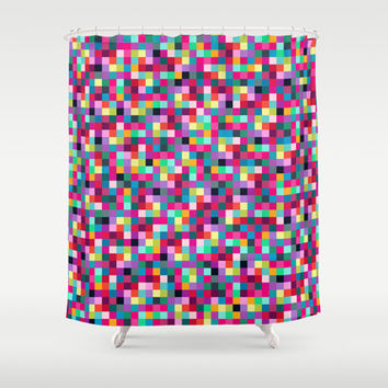 Pixels Shower Curtain by Ornaart
