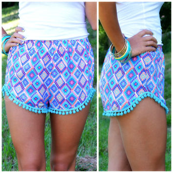 Kaleidoscope Eyes Mint   Purple Pom Pom Shorts