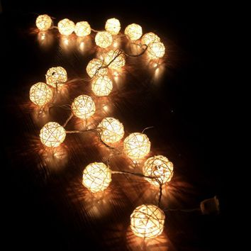 Storm Cream White Rattan Ball Fairy Lights  Ideal Wedding