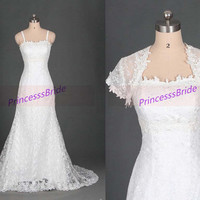 2014 ivory lace wedding gowns with jacket,simple elegant women dress for wedding party,latest cheap bridal dresses with train hot.