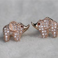 MP Micropave Setting of AAA Quality White Clear CZ Stones Pin Earrings Baby Elephant with Ruby Eyes 18K Gold Plated Gift for Her ADP 0704