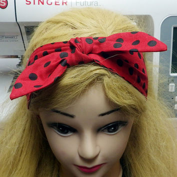 Red Polka Dot Headband with Bow, Black and Red Headband, Pinup Girl hair accessory, Retro Headband