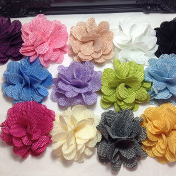 Burlap flowers - 3 inch rustic fabric flower for hair clips, headbands and DIY wedding - Wholesale bulk fabric flowers