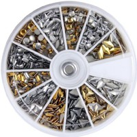 600 pcs 3D Design Nail Art Different Metallic Studs Gold & Silver Stud Wheel Manicure:Amazon:Beauty