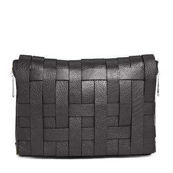 ASOS Leather Bondage Weave Chunky Clutch Bag
