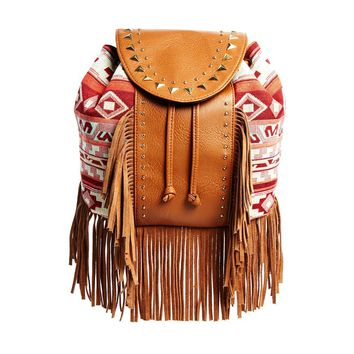 Printed Backpack with Fringe