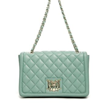 Love Moschino Quilted Chain Strap Soulder Bag in Light Blue