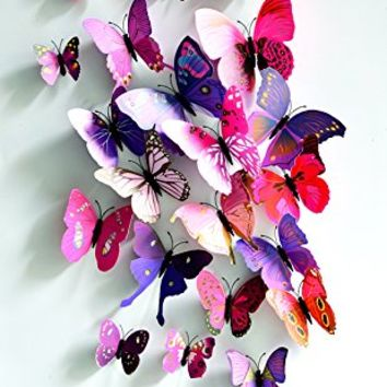 Pink and Purple 24PCS 3D Butterfly Wall Stickers Decor Art