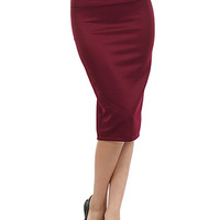 Burgundy Bombshell Hobble Skirt