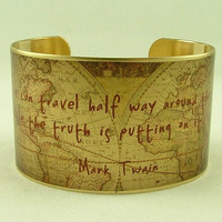 Mark Twain Witty Quote Cuff Bracelet  A  Lie Can by JezebelCharms