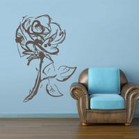 Wall Decal Mural Sticker Beautyfull Flowers Rose Roses Bucket Love Heart Sketch Gift Bedroom (z2792)