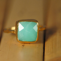10 Off  Chrysoprase Ring  Gemstone Ring  Gold Ring  by delezhen