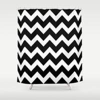 Chevron Black & White Shower Curtain by BeautifulHomes | Society6