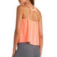 Sheer Bow-Back Strappy Swing Tank Top by Charlotte Russe - Neon Coral