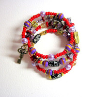 Red Lavender Purple Memory Wire Wrapped Bracelet by LemachiDesigns