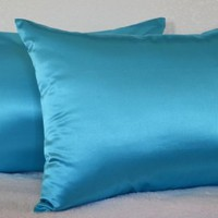 Creative 2 Pieces of Hidden Zipper Satin Pillow Case, Standard Size , Turquoise