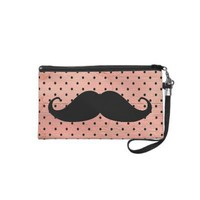 Funny Mustache On Cute Pink Polka Dot Background Wristlet Purse