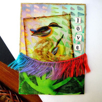 Original ACEO Mixed Media Fabric Collage Bird by LemachiDesigns