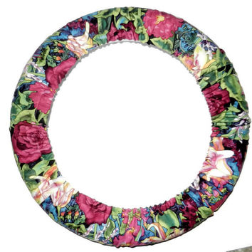 Floral Garden Steering Wheel Cover, Cute Girly Cotton Wheel Cover, Made in USA, Car Accessory, Custom Made