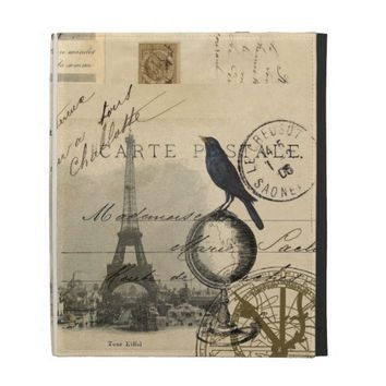 Paris Crow Globe French Postcard iPad Case