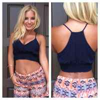 Wipeout Crop Tank - NAVY