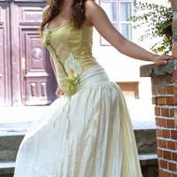 Alternative corset wedding gown Golden Calla by KataKovacs