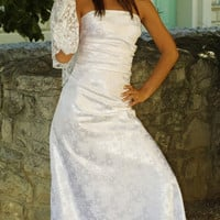Classic Vintagestyle Brocade Simple Wedding Dress by KataKovacs