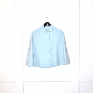 1960s preppy pastel blue wool cape capelet