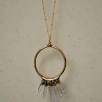 SUNBURST  /// Gemstone 24K Gold Electroformed Hoop Pendant Necklace /// Crystal Quartz Points