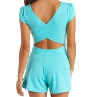 CROSS-BACK TULIP SLEEVE ROMPER