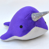 Narwhal Plush Sparkle Tooth Medium MADE TO by OstrichFarm