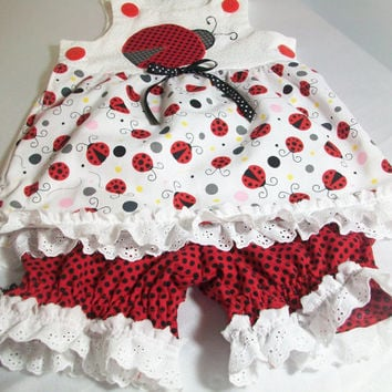 Ladybug Baby Girl Summer Clothes - Sun Top and Pantaloons Set. Baby Summer Wear