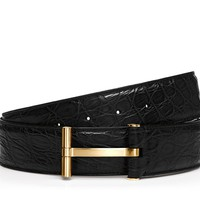 Alligator Gold T Buckle Belt