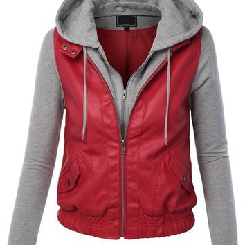LE3NO Womenx27s Zip Up Faux Leather Moto Jacket with Hoodie