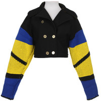 Kenzo AW12 Black, Yellow & Blue Knitted Sleeve Cropped Jacket | Jackets & Coats | Rokit Vintage Clothing