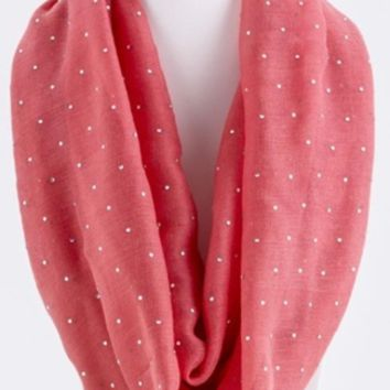 Crystal Accented Coral Infinity Scarf