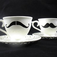 British Gentlemans Mustache Tea cup with a saucer by kaoriglass