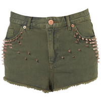 MOTO Khaki Studded Hotpants - New In This Week  - New In  - Topshop