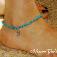 Anklet,turquoise Anklet,hamsa hand anklet,turquoise bead,hamsa hand jewelry,blessed gift,bestfriend gift,blessedgarden