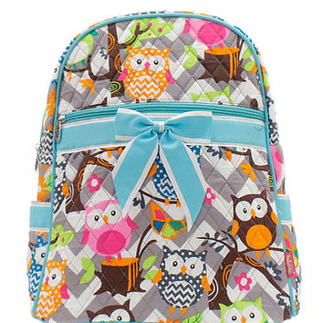 Personalized Gray Chevron Zig Zag  Owl Backpack Pink or Blue Trim Bookbag  Back to School Dance Bag Swim Bag Aqua Zig Zag Christmas Birthday