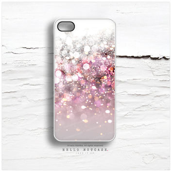 iPhone 5C Case Glitter Texture Print, iPhone 5s Case Pink Glitter iPhone 5 Case White iPhone 4s Case, Glitter iPhone Case iPhone Cover N14