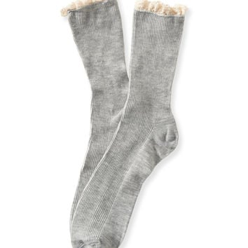 Ribbed Ruffle Crew Socks