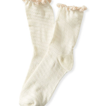 Pointelle Ruffle Crew Socks
